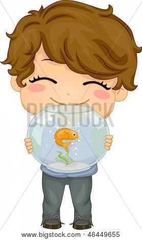 Illustration of Little Boy carrying his Pet Fish an Aquarium