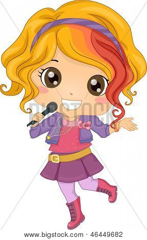 Illustration of Little Girl Pop Star holding a Wireless Microphone