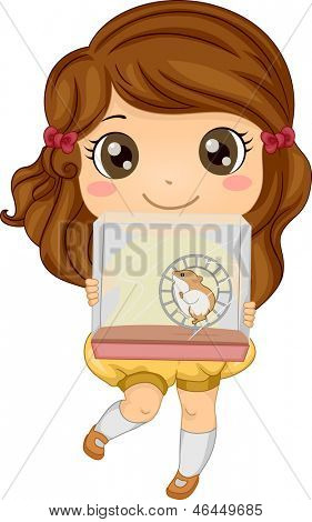 Illustration of a Little Girl Carrying her Pet Hamster in a Cage