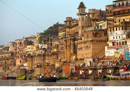 VARANASI, INDIA - 23 MARCH: Ghats on the banks of Ganges river in holy city of Varanasi on March 23, 2013 in Varanasi, Uttar Pradesh, India.