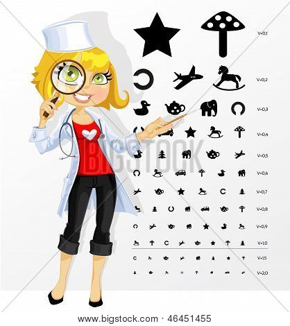 Cute Woman Doctor - Ophthalmologist Shows Children's Table For Eye Tests
