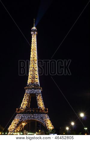 PARIS - MAY 02 : Light Performance on MAY 02, 2013 in Paris. The Eiffel tower stands 324 meters (1,063 ft) tall. Monument was built in 1889, attendance is over 7 millions people.