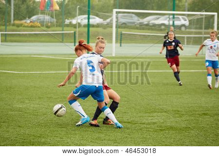 MOSCOW - AUG 23: Forward of CSP Izmailovo (Moscow) in attack in game against team Mordovochka (Saransk) at stadium of sports complex CSP Izmailovo, August 23, 2012, Moscow, Russia.