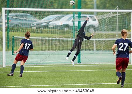 MOSCOW - AUG 23: Female goalkeeper returns ball over bar during opening match between CSP Izmailovo (Moscow) - Mordovochka (Saransk) , August 23, 2012, Moscow, Russia.