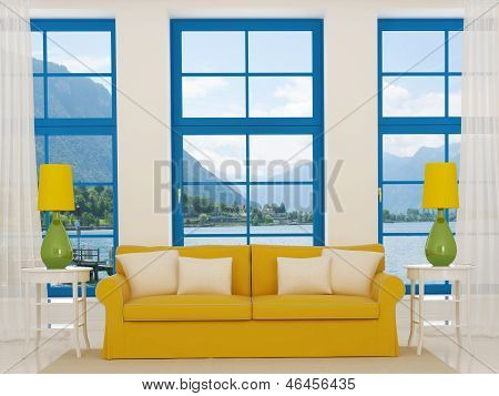 Bright Interior With Yellow Sofa
