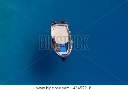 Motor boat in the Ionian sea Greece
