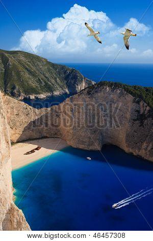 Shipwreck Navagio beach in Zakynthos island Greece