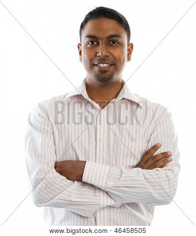 Indian man. Young good looking Indian people smiling, standing isolated on white background.