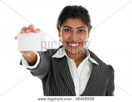 Indian businesswoman shows a blank business card for marketing, Asian woman smiling happy isolated on white.