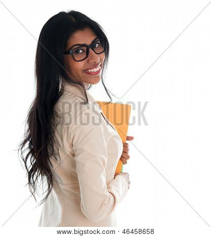 Indian businesswoman holding file folder document. Portrait of beautiful Asian female model standing isolated on white background.
