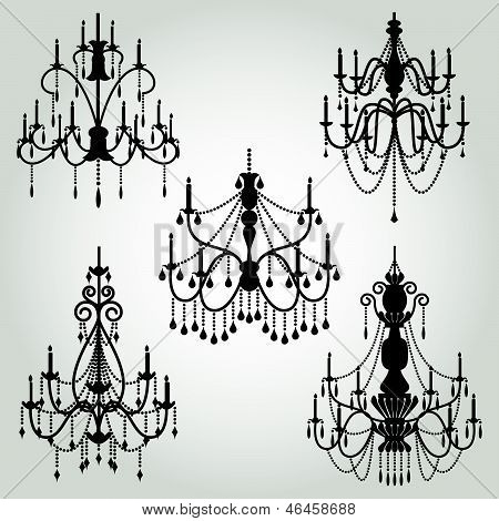 Vector Set of Chandelier Silhouettes