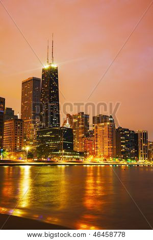 Downtown Chicago, Il Right After Sunset