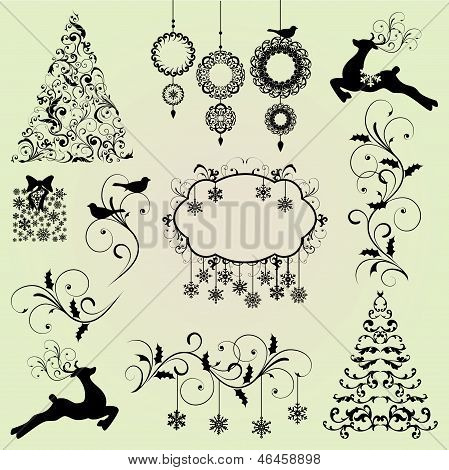 Christmas Design Elements Vector Set
