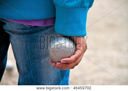 Boule ball in the hand of a woman