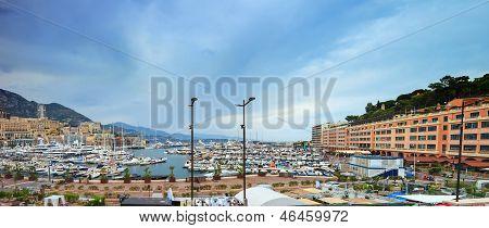 Monaco Montecarlo Marina Harbor Panorama. Azure Coast. France