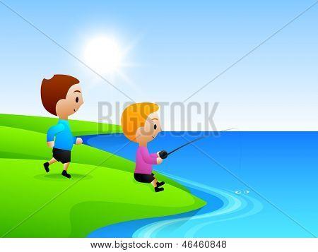 Amigos de pesca no lago, plano de fundo para um feliz dia da amizade.