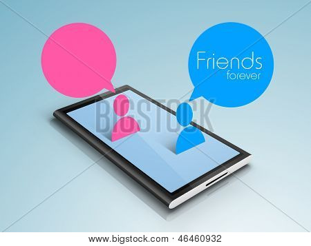 Happy friendship day modern concept with friends chatting on mobile.