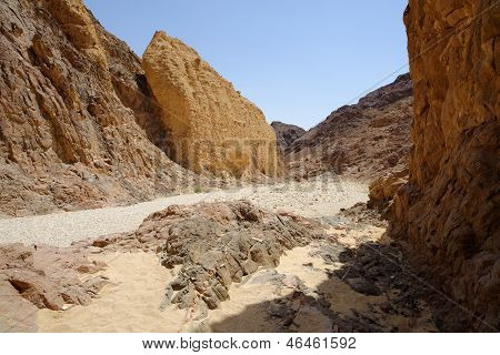 Scenic rocks in the desert canyon, Israel