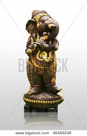 Hindu God Ganesh Isolated Over White.