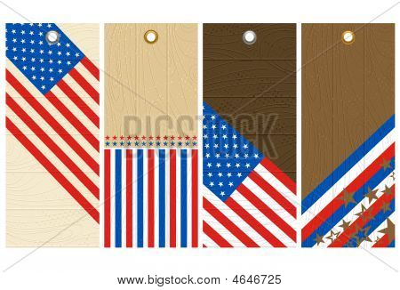 Four Wooden Labels With Elements Of Usa Banner