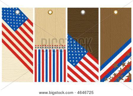 vier hölzerne Etiketten mit Elementen der Usa banner
