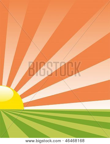 Vector Background With Rising Sun