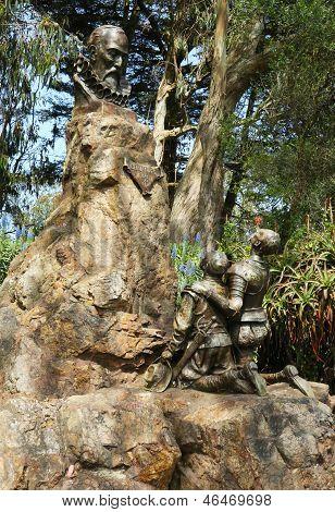 Miguel de Cervantes statue in Golden Gate Park in San Francisco