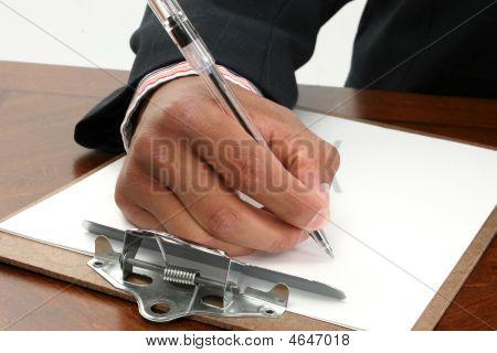Escritura de la mano del hombre
