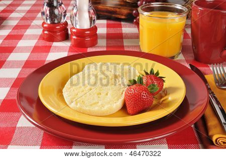 English Muffin With Strawberries