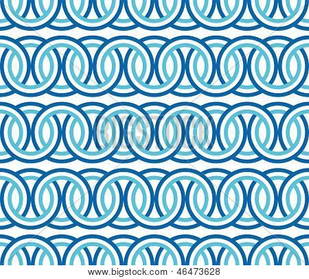 Seamless Blue Circle Chain Pattern Background Vector.eps