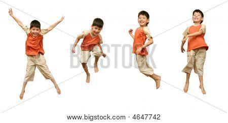 Boy Jumps On White Background.