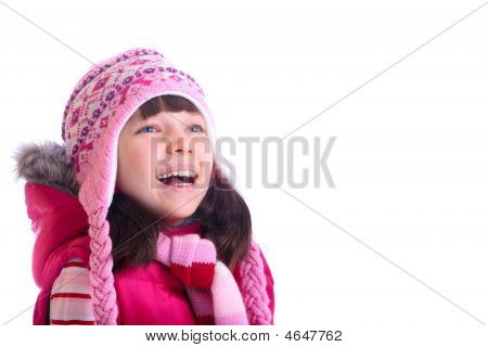Happy Girl Wearing Warm Hat
