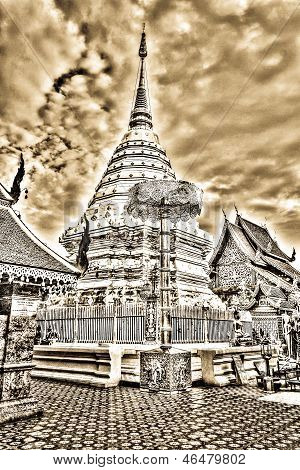 Vintage - Wat Phrathat Doi Suthep Temple In Chiang Mai, Thailand