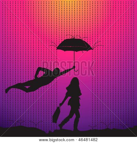 Man is protecting a women with umbrella