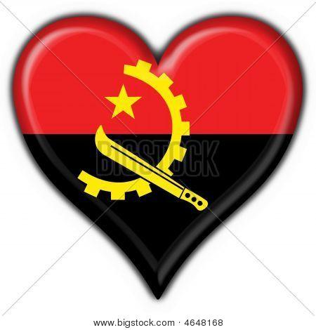 Angola Button Flag Heart Shape