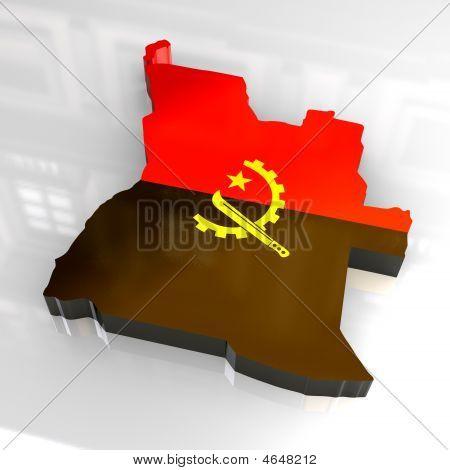 3D Flag Map Of Angola