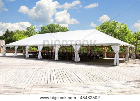 outdoor tent on a spring day