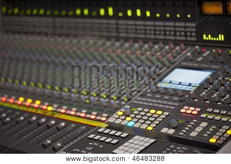 Large Music Mixer Desk In Recording Studio