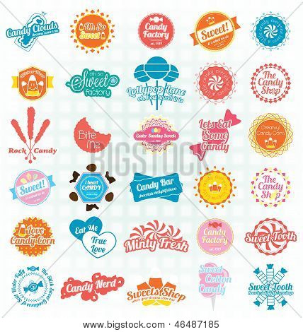 Vector Set: Candy and Sweets Labels