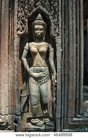 A Bas-Relief Statue of Khmer Culture