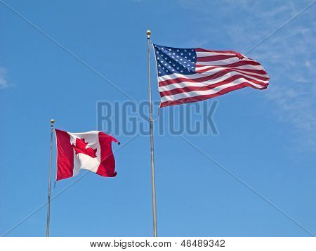 Flags Of Canada And Usa