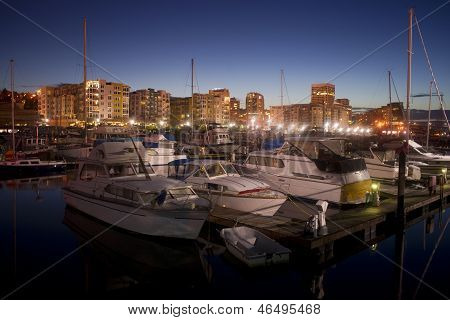 Night Falls On Moored Boats Marina Thea Foss Waterway Tacoma