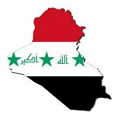 stock photo of iraq  - map of Iraq and Iraqi flag illustration - JPG