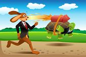 stock photo of the hare tortoise  - A vector illustration of tortoise and hare racing - JPG