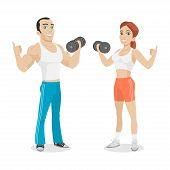 stock photo of perseverance  - Illustration guy and girl hold in dumbbell hand - JPG