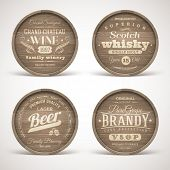 stock photo of alcoholic drinks  - Set of wooden casks with alcohol drinks emblems  - JPG
