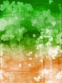 picture of saint patricks day  - Clover pattern on a grungy background in Irish national colours - JPG