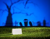 stock photo of horrific  - Halloween landscape with tree graveyard and name card - JPG