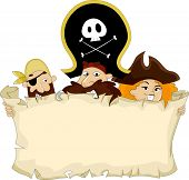 stock photo of raider  - Illustration of Pirates holding a Blank Map - JPG