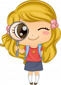 Illustration of a Cute American Girl holding a Magnifying Glass